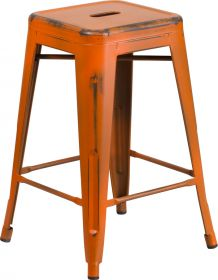 24'' High Backless Distressed Orange Metal Indoor-Outdoor Counter Height Stool [ET-BT3503-24-OR-GG]