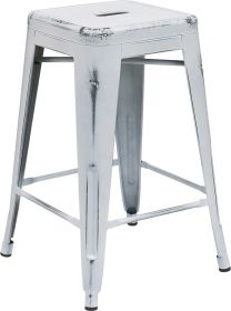 24'' High Backless Distressed White Metal Indoor-Outdoor Counter Height Stool [ET-BT3503-24-WH-GG]