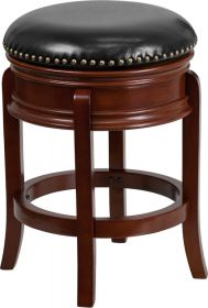 24'' High Backless Light Cherry Wood Counter Height Stool with Black Leather Swivel Seat [TA-68824-LC-CTR-GG]