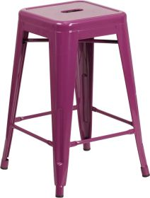 24'' High Backless Purple Indoor-Outdoor Counter Height Stool [ET-BT3503-24-PUR-GG]