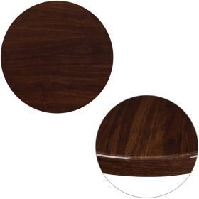 24'' Round High-Gloss Walnut Resin Table Top with 2'' Thick Drop-Lip [TP-WAL-24RD-GG]