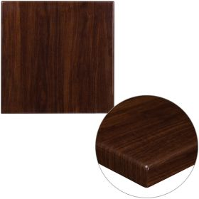 24'' Square High-Gloss Walnut Resin Table Top with 2'' Thick Drop-Lip [TP-WAL-2424-GG]