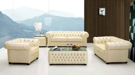 ESF 258 Leather Living Room Set in Ivory