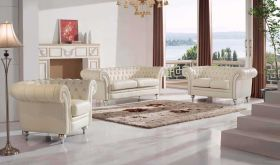 287 Leather Living Room Set in Cream