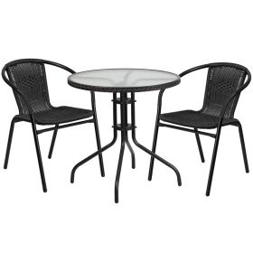 28'' Round Glass Metal Table with Black Rattan Edging and 2 Black Rattan Stack Chairs [TLH-087RD-037BK2-GG]