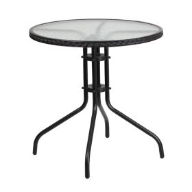 28'' Round Tempered Glass Metal Table with Black Rattan Edging [TLH-087-BK-GG]
