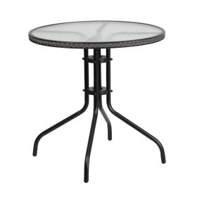 28'' Round Tempered Glass Metal Table with Gray Rattan Edging [TLH-087-GY-GG]