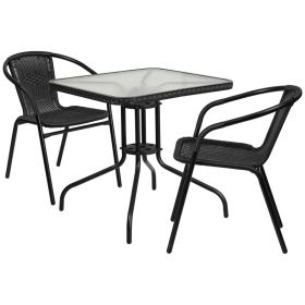 28'' Square Glass Metal Table with Black Rattan Edging and 2 Black Rattan Stack Chairs [TLH-073SQ-037BK2-GG]