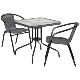 28'' Square Glass Metal Table with Gray Rattan Edging and 2 Gray Rattan Stack Chairs [TLH-073SQ-037GY2-GG]