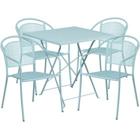 28'' Square Sky Blue Indoor-Outdoor Steel Folding Patio Table Set with 4 Round Back Chairs [CO-28SQF-03CHR4-SKY-GG]