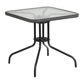 28'' Square Tempered Glass Metal Table with Gray Rattan Edging [TLH-073R-GY-GG]