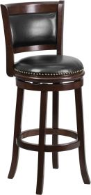 29'' High Cappuccino Wood Barstool with Black Leather Swivel Seat [TA-61029-CA-GG]
