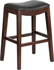30'' High Backless Cappuccino Wood Barstool with Black Leather Seat [TA-411030-CA-GG]