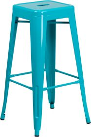30'' High Backless Crystal Teal-Blue Indoor-Outdoor Barstool [ET-BT3503-30-CB-GG]