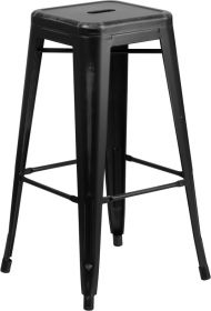 30'' High Backless Distressed Black Metal Indoor-Outdoor Barstool [ET-BT3503-30-BK-GG]
