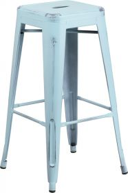30'' High Backless Distressed Dream Blue Metal Indoor-Outdoor Barstool [ET-BT3503-30-DB-GG]