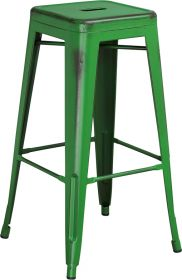 30'' High Backless Distressed Green Metal Indoor-Outdoor Barstool [ET-BT3503-30-GN-GG]