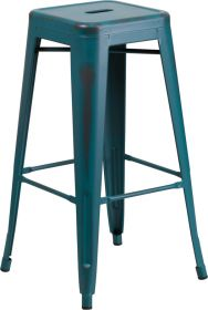 30'' High Backless Distressed Kelly Blue-Teal Metal Indoor-Outdoor Barstool [ET-BT3503-30-KB-GG]