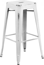 30'' High Backless Distressed White Metal Indoor-Outdoor Barstool [ET-BT3503-30-WH-GG]