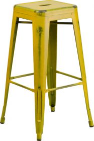 30'' High Backless Distressed Yellow Metal Indoor-Outdoor Barstool [ET-BT3503-30-YL-GG]