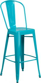 30'' High Crystal Teal-Blue Metal Indoor-Outdoor Barstool with Back [ET-3534-30-CB-GG]