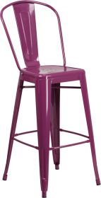 30'' High Purple Metal Indoor-Outdoor Barstool with Back [ET-3534-30-PUR-GG]