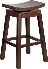 30'' High Saddle Seat Cappuccino Wood Barstool with Auto Swivel Seat Return [TA-SADDLE-1-GG]