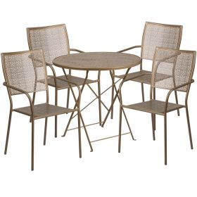 30'' Round Gold Indoor-Outdoor Steel Folding Patio Table Set with 4 Square Back Chairs [CO-30RDF-02CHR4-GD-GG]