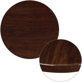 30'' Round High-Gloss Walnut Resin Table Top with 2'' Thick Drop-Lip [TP-WAL-30RD-GG]
