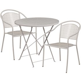 30'' Round Light Gray Indoor-Outdoor Steel Folding Patio Table Set with 2 Round Back Chairs [CO-30RDF-03CHR2-SIL-GG]