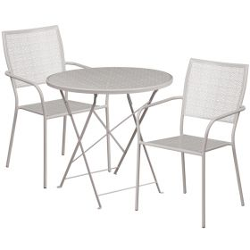 30'' Round Light Gray Indoor-Outdoor Steel Folding Patio Table Set with 2 Square Back Chairs [CO-30RDF-02CHR2-SIL-GG]