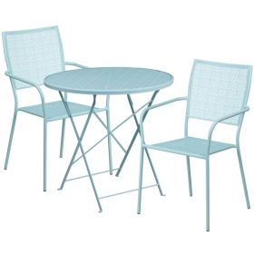 30'' Round Sky Blue Indoor-Outdoor Steel Folding Patio Table Set with 2 Square Back Chairs [CO-30RDF-02CHR2-SKY-GG]