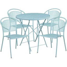 30'' Round Sky Blue Indoor-Outdoor Steel Folding Patio Table Set with 4 Round Back Chairs [CO-30RDF-03CHR4-SKY-GG]