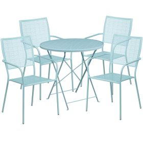 30'' Round Sky Blue Indoor-Outdoor Steel Folding Patio Table Set with 4 Square Back Chairs [CO-30RDF-02CHR4-SKY-GG]