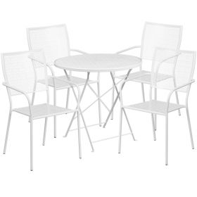 30'' Round White Indoor-Outdoor Steel Folding Patio Table Set with 4 Square Back Chairs [CO-30RDF-02CHR4-WH-GG]