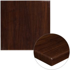 30'' Square High-Gloss Walnut Resin Table Top with 2'' Thick Drop-Lip [TP-WAL-3030-GG]