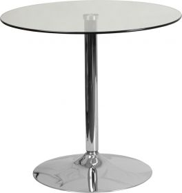 31.5'' Round Glass Table with 29''H Chrome Base [CH-7-GG]