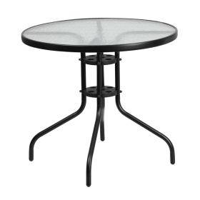 31.5'' Round Tempered Glass Metal Table [TLH-070-2-GG]