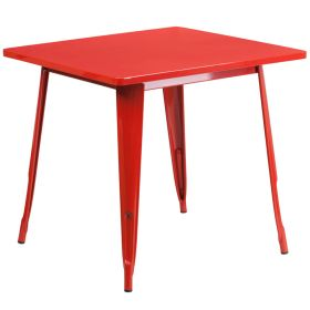 31.5'' Square Red Metal Indoor-Outdoor Table [ET-CT002-1-RED-GG]