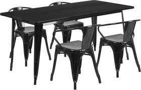 31.5'' x 63'' Rectangular Black Metal Indoor-Outdoor Table Set with 4 Arm Chairs [ET-CT005-4-70-BK-GG]