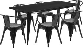 31.5'' x 63'' Rectangular Black Metal Indoor-Outdoor Table Set with 6 Arm Chairs [ET-CT005-6-70-BK-GG]