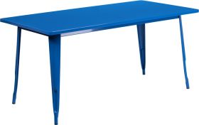 31.5'' x 63'' Rectangular Blue Metal Indoor-Outdoor Table [ET-CT005-BL-GG]