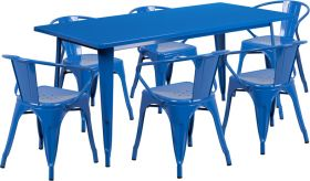31.5'' x 63'' Rectangular Blue Metal Indoor-Outdoor Table Set with 6 Arm Chairs [ET-CT005-6-70-BL-GG]