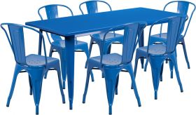 31.5'' x 63'' Rectangular Blue Metal Indoor-Outdoor Table Set with 6 Stack Chairs [ET-CT005-6-30-BL-GG]