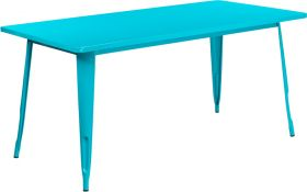 31.5'' x 63'' Rectangular Crystal Teal-Blue Metal Indoor-Outdoor Table [ET-CT005-CB-GG]