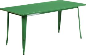 31.5'' x 63'' Rectangular Green Metal Indoor-Outdoor Table [ET-CT005-GN-GG]