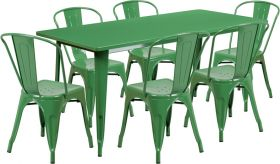 31.5'' x 63'' Rectangular Green Metal Indoor-Outdoor Table Set with 6 Stack Chairs [ET-CT005-6-30-GN-GG]