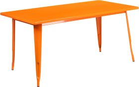 31.5'' x 63'' Rectangular Orange Metal Indoor-Outdoor Table [ET-CT005-OR-GG]
