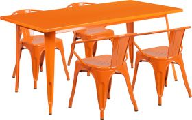31.5'' x 63'' Rectangular Orange Metal Indoor-Outdoor Table Set with 4 Arm Chairs [ET-CT005-4-70-OR-GG]