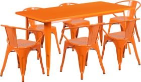 31.5'' x 63'' Rectangular Orange Metal Indoor-Outdoor Table Set with 6 Arm Chairs [ET-CT005-6-70-OR-GG]